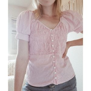 A.N.A Pink Striped Smocked Button Down Blouse xs